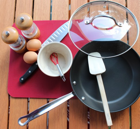 1. Gather tools: Salt & Pepper, 2 eggs, mixing bowl, whisk, knife, heavy bottom pan with lid, spatula