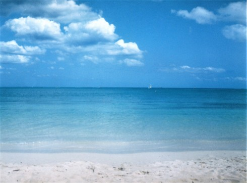 Pristine beach ocean in front of our resort in Rodriguez. Photo by me