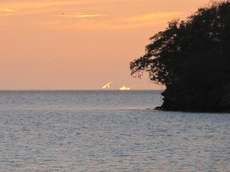 Beautiful Sunset over the little island where we kayaked to every day