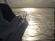 Boat at Green Bay Marina at sunset